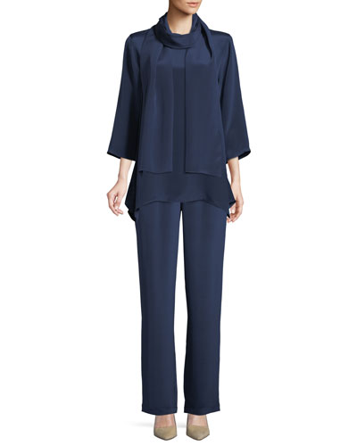 Round-Neck 3/4-Sleeve Silk Crepe Swing Tunic Top and Matching Items
