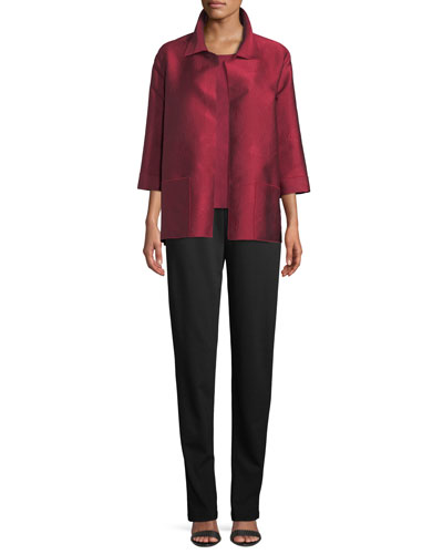 Zen Garden Bracelet-Sleeves Swirl-Stitch Jacquard Shirt-Style Jacket, Plus Size and Matching Items