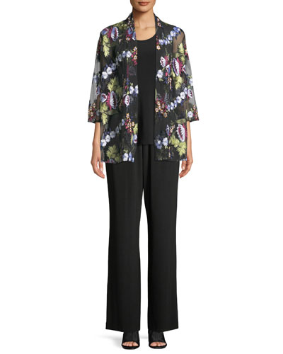 Leading Lady Bracelet-Sleeve Floral-Embroidered Mesh Cardigan and Matching Items