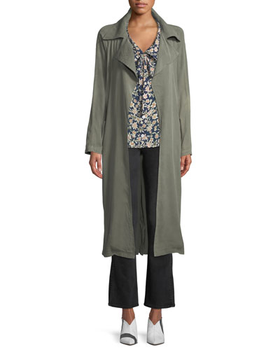 Self-Belt Garment-Dye Twill Trench Coat and Matching Items