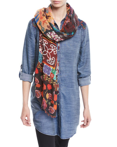 Tina Button-Front Long Denim Tunic w/ Embroidery  and Matching Items