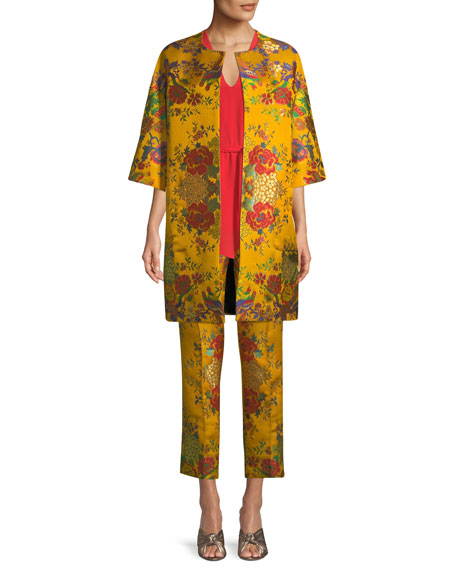 Chinoiserie Floral-Jacquard 3/4-Sleeve Topper Jacket