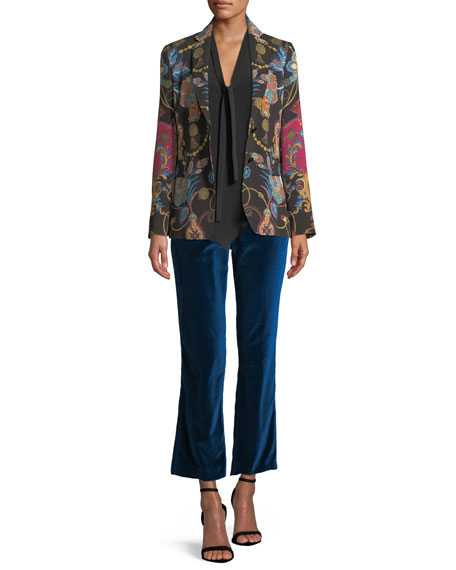 Single-Breasted Two-Button Paisley-Print Blazer