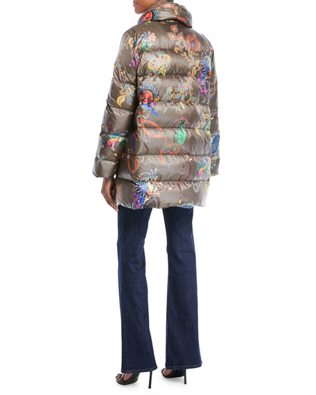 Snap-Front Long-Sleeve Multicolor Lemur-Print Puffer Coat
