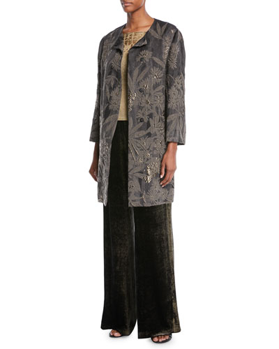 Floral-Cloqué Topper Coat  and Matching Items