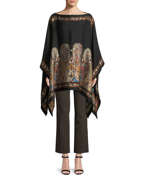 V-Neck Full-Sleeve Embroidered Wool Poncho