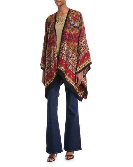Tapestry-Jacquard Open-Front Cape