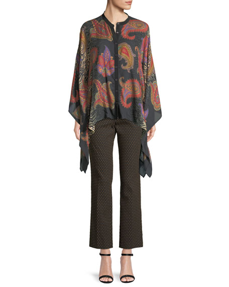 Animal-Print Button-Front Cashmere-Silk Poncho Blouse
