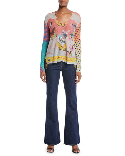 V-Neck Long-Sleeve Butterfly-Knit Paillette Sweater and Matching Items