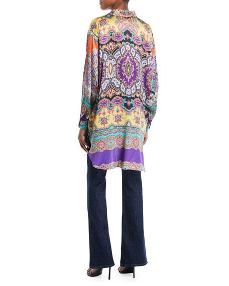 Long-Sleeve Button-Front Equipment-Pocket Harlem-Print Oversized Silk Shirt