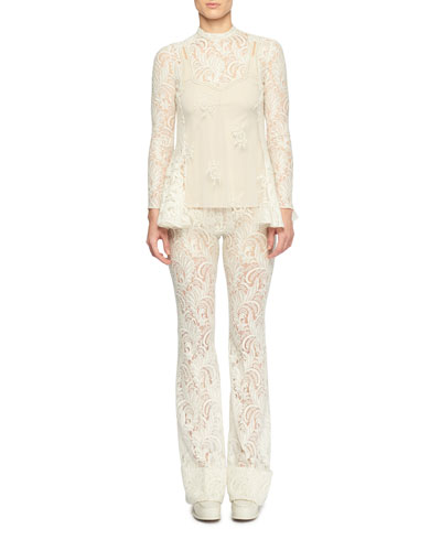 Long-Sleeve Sheer Front Pearlescent-Bead Lace Blouse and Matching Items