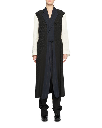 Oversized Mixed-Media Belted Robe-Style Coat and Matching Items