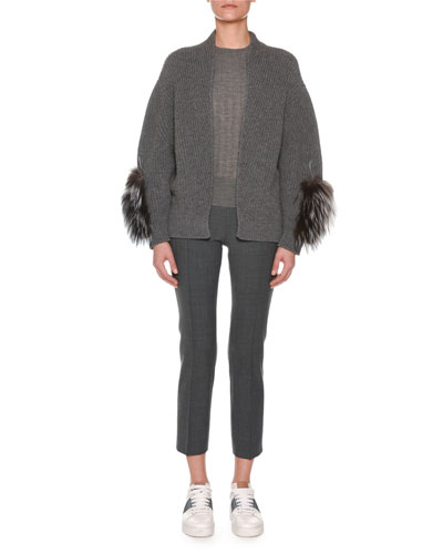 Open-Front Cashmere Ribbed Cardigan w/ Fox Fur Sleeve Patches  and Matching Items