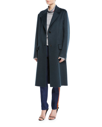 Slim Notched-Collar Two-Button Cashmere Coat and Matching Items
