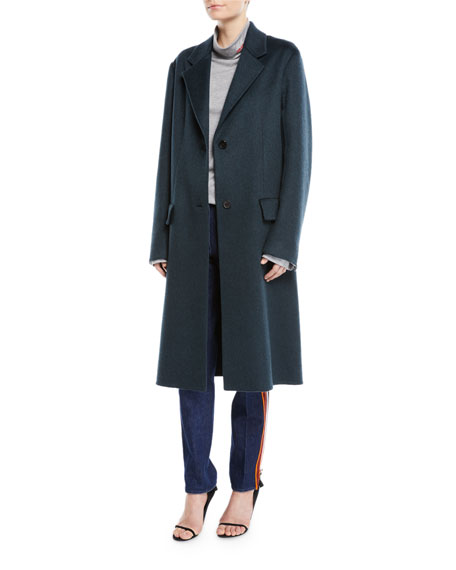 Slim Notched-Collar Two-Button Cashmere Coat