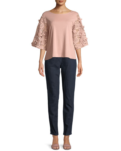 Bateau-Neck Lace Guipure Sleeve Knit Top and Matching Items