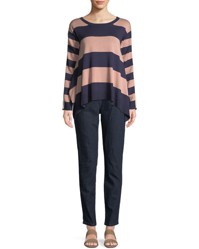Long-Sleeve Crewneck Relaxed Mixed-Media Sweater  and Matching Items