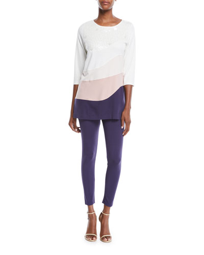 Ballet-Neck 3/4-Sleeve Colorblock Tunic w/ Sequin Detail and Matching Items