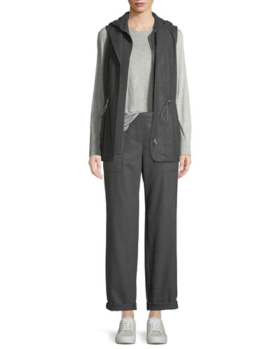 Zip-Front Starrdust Wool Suiting Combo Vest w/ Nylon Back and Matching Items