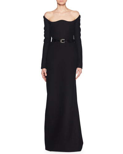 Off-the-Shoulder Scoop-Neck Long-Sleeve A-Line Wool Evening Gown and Matching Items