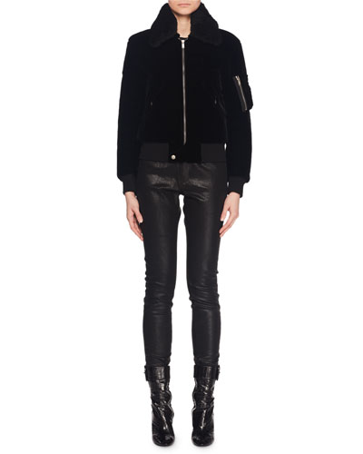Shearling Collar Zip-Front Velvet Bomber Jacket w/ Knit Trim and Matching Items