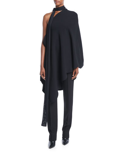 One-Shoulder Scarf-Neck Scalloped-Edge Stretch-Viscose Tunic Top and Matching Items