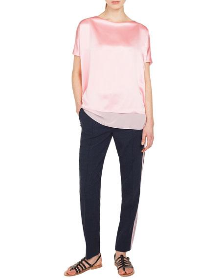 Cap-Sleeve Silk Satin Tunic Blouse