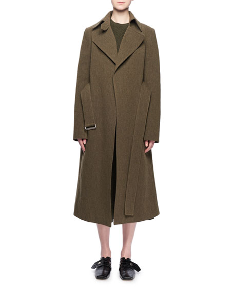 Two-Pocket Belted Wool-Blend Coat