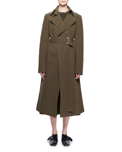 Two-Pocket Belted Wool-Blend Coat  and Matching Items