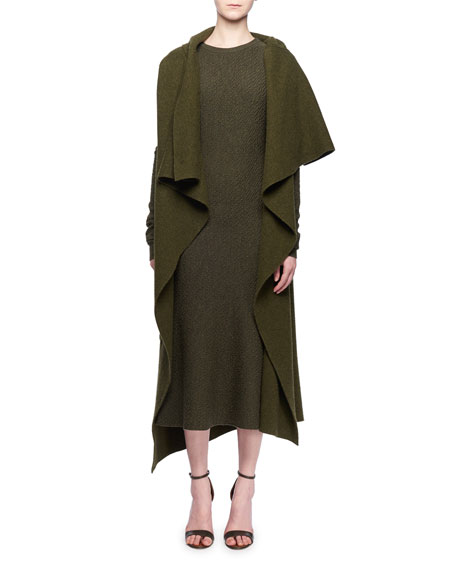 Sleeveless Multilayer Wrap Cashmere-Blend Cocoon