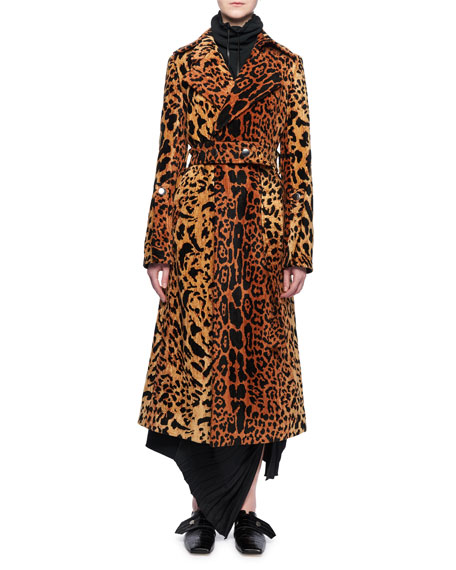 Leopard-Jacquard Belted Velvet Coat
