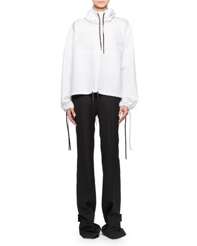 Hooded Drawstring Cotton Pullover w/ Leather Trim and Matching Items