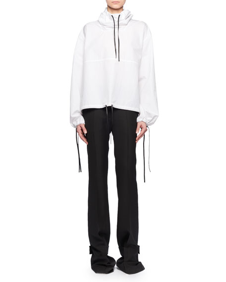 Hooded Drawstring Cotton Pullover w/ Leather Trim