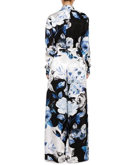 Floral-Print Silk Button-Front Blouse