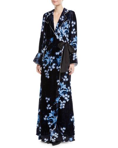 New Sunrise Floral-Print Velvet Kimono Coat w/ Side Tie and Matching Items
