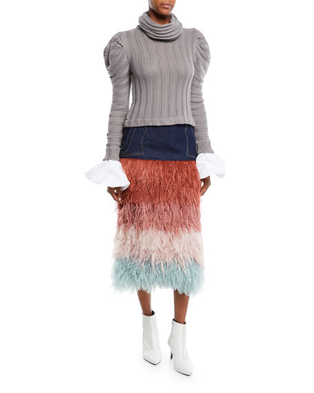 Countess Of Greystroke Ruffle Cotton Cuff Ribbed-Knit Sweater