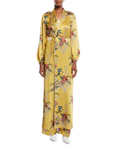The Flower Queen Long-Sleeve Tie-Front Silk Satin Kimono Jacket and Matching Items