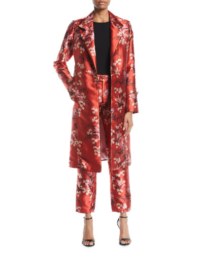 As If Notched-Collar Renaissance Victorian Floral-Print Mid-Length Coat  and Matching Items