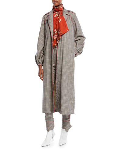 Ser Garnel Open-Front Plaid Suiting Western-Seam Kimono Coat and Matching Items