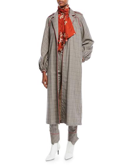 Ser Garnel Open-Front Plaid Suiting Western-Seam Kimono Coat