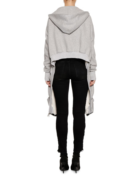 Heathered Terry High-Low Hooded Jacket