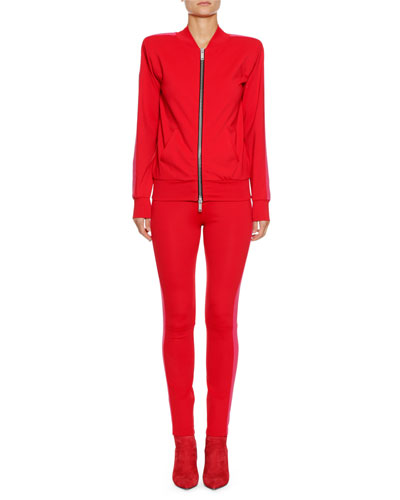 Boxy Zip-Front Side-Stripe Track Jacket and Matching Items