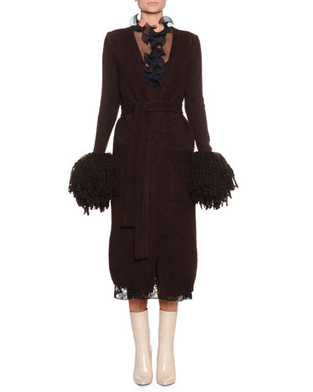 Open-Front Wool-Blend Knit Cardigan w/ Pompom Cuffs