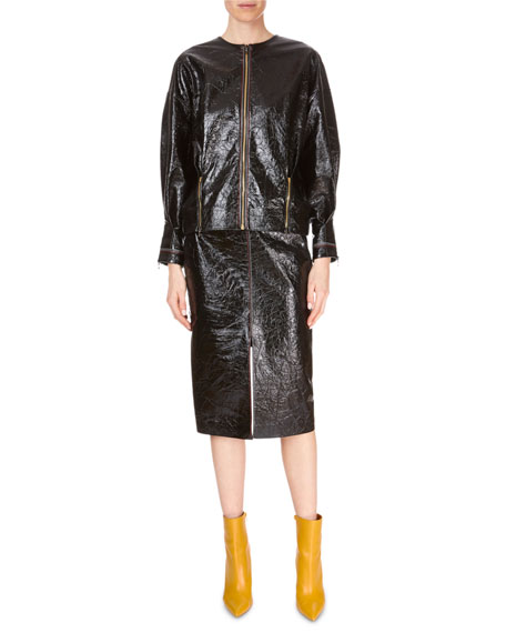 Davis Zip-Front Patent Napa Leather Jacket