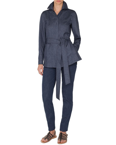 Spread-Collar Button-Front Belted Cashmere-Cotton Flannel Shirt and Matching Items