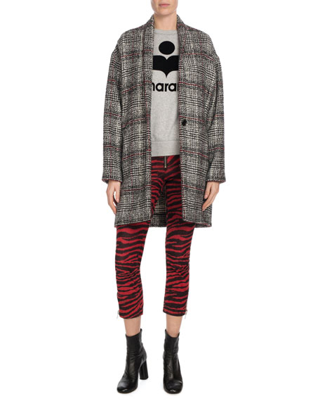 Eabrie Oversized Plaid Shawl-Collar Jacket
