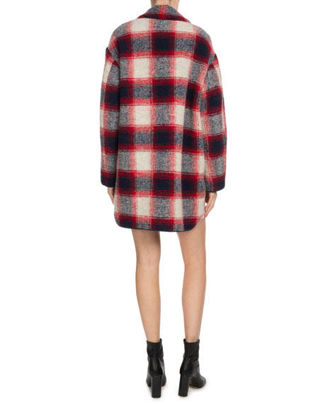 Gabrie Plaid Wool-Blend Coat