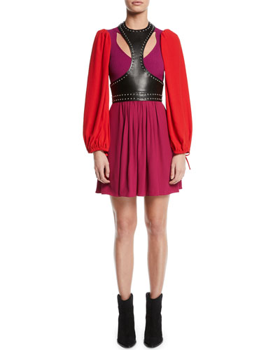 Harness-Neck Sleeveless Studded Lamb Leather Harness Top and Matching Items
