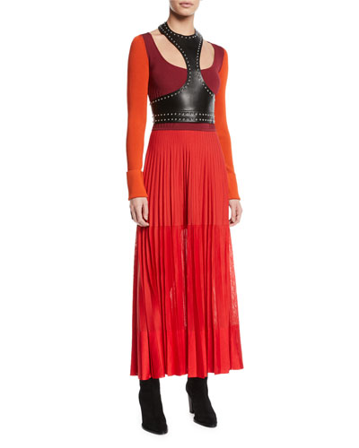 Harness-Neck Sleeveless Studded Lamb Leather Midi Dress and Matching Items