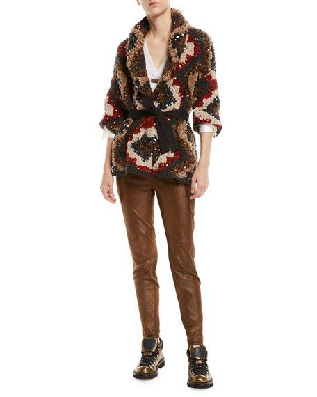 V-Neck Sheer Long-Sleeve Silk Chiffon Layered Blouse w/ Monili Tab